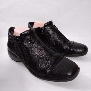 Rieker Black Leather Zip Ankle Booties Size 41/8
